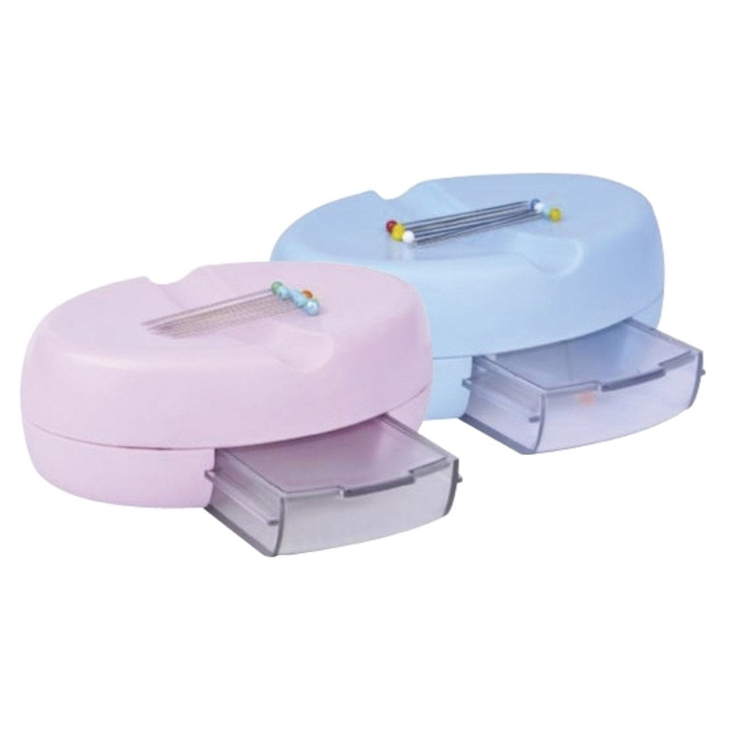 Suporte magnético com gaveta para alfinetes (rosa ou azul)