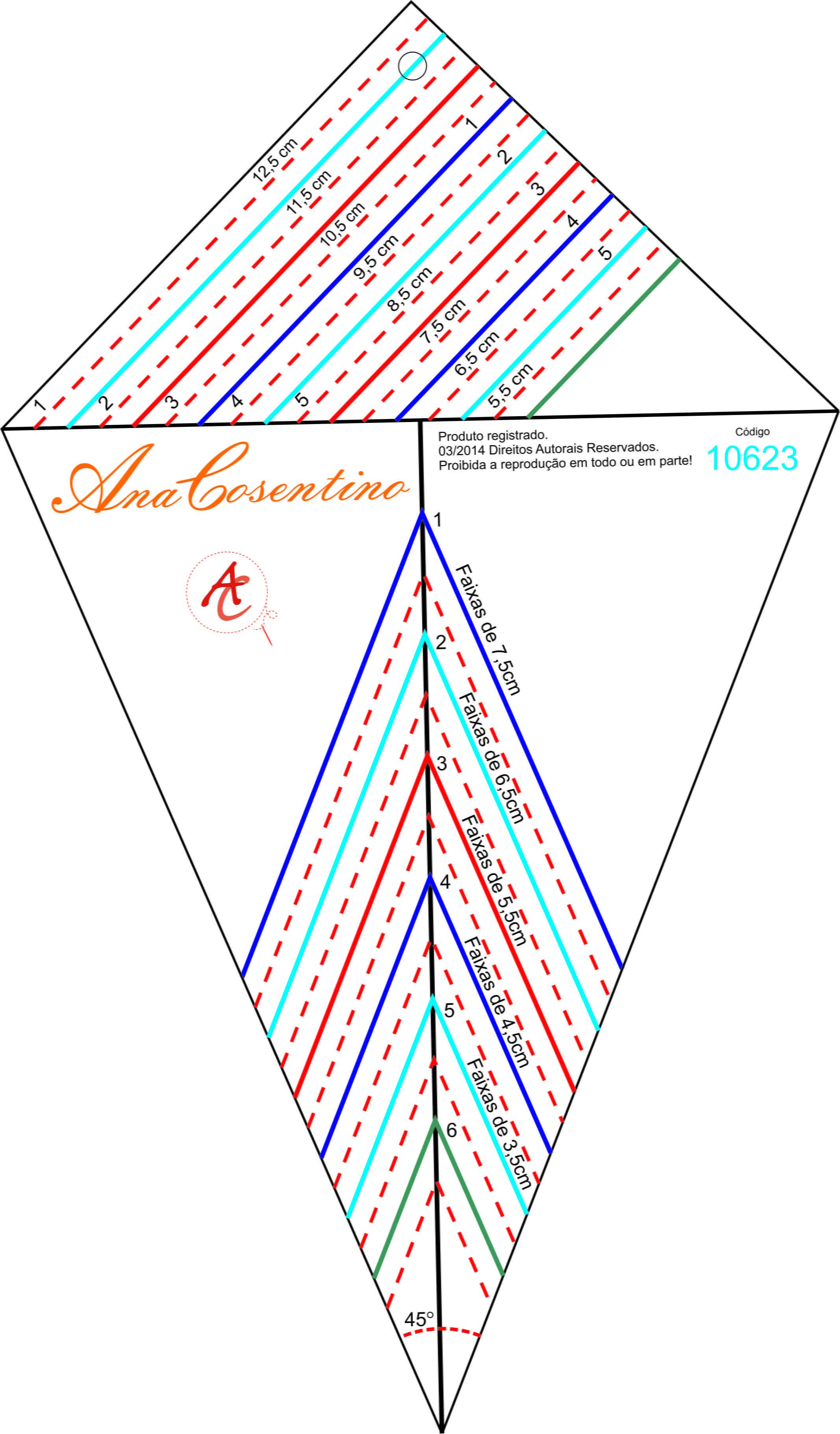 Régua para Patchwork Estrela 8 Pontas Ana Cosentino 10623