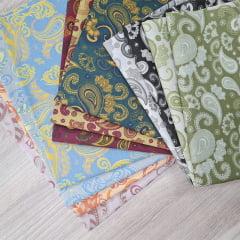 kit de Tecidos para Patchwork Alecrim Coleção Cashmere II - Kit com 11 cores