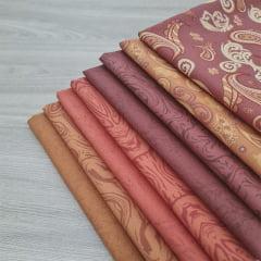 Kit Tecidos Alecrim com 8 cortes de 1m x 1,40m (Total de 8m no Kit) Coleção Terracota